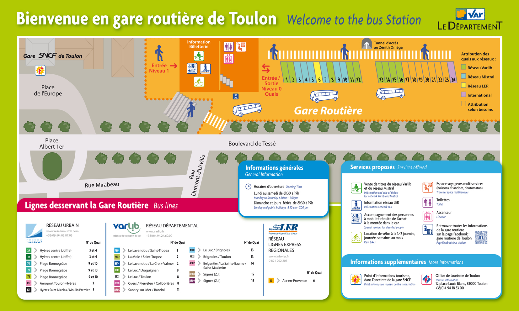 Acc s plans et transports toulon toulon tourisme for Gare routiere salon de provence